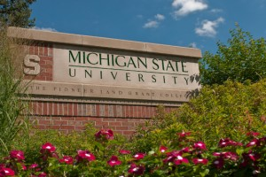 MSU brick entrance sign on Kalamazoo Street.
